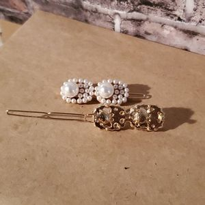3/$20 Set of Two 2 Pearl Hair Clips